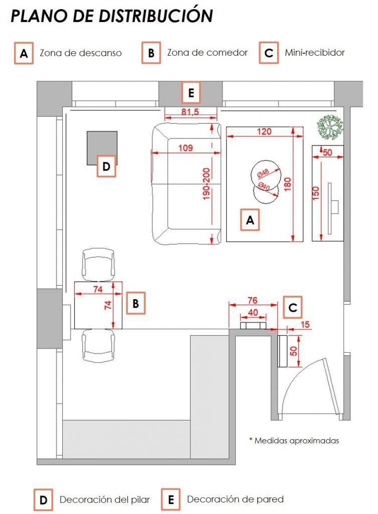 propuesta decorativa para recibidor, salón y cocina 3