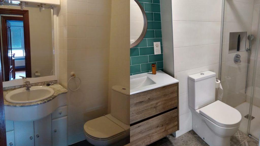 El antes y después del baño pequeño 1